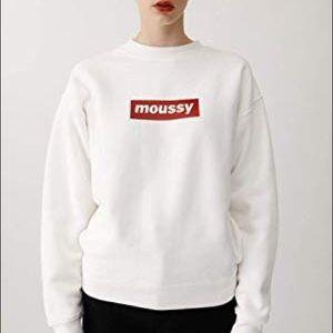 MOUSSY White Crewneck Sweatshirt with Red Logo